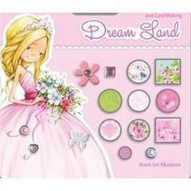 15 decorative brads, pink / green tones