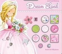Embellishments / Verzierungen 15 dekorative Brads, rosa/grün Töne