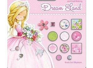 Embellishments / Verzierungen 15 brad decorativi, toni rosa / verde
