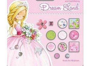 Embellishments / Verzierungen 15 dekorative brads, pink / grønne nuancer