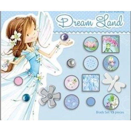Embellishments / Verzierungen 15 decoratieve brads, blauwe tinten