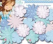 Embellishments / Verzierungen Papers Trykte blomster, Dreamland blå blomster, 24 stykker