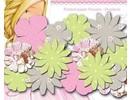 Embellishments / Verzierungen Papeles flores impresas, las flores Dreamland, colores delicados, 24 piezas
