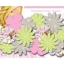 Papeles flores impresas, las flores Dreamland, colores delicados, 24 piezas