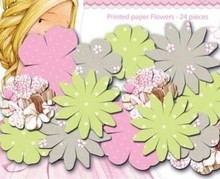 Embellishments / Verzierungen Papers Trykte blomster, Dreamland blomster, sarte farver, 24 stykker