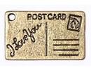 Embellishments / Verzierungen 2 Metal Charms Set Postcard 16x26 mm