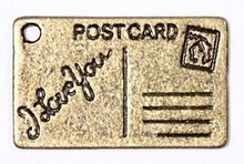 Embellishments / Verzierungen 2 Metal Charms Sæt Postkort 16x26 mm