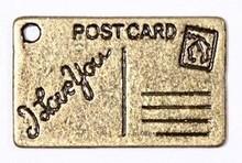 Embellishments / Verzierungen 2 Metall Charms Set Postcard 16x26 mm