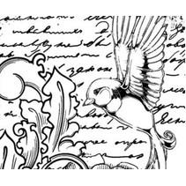 Rubber stamp, IndigoBlu Antique Songbird Mounted A6