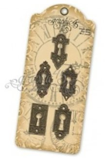 Graphic 45 Grafiske 45, 5 Ornate Metal Key Huller