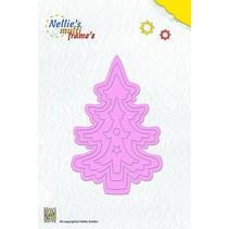 Punzonado y la plantilla de estampado marco Nellie`s múltiples, árbol de navidad