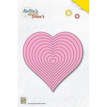 Punching and embossing template Nellie`s multiframe, heart
