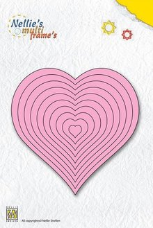 Nellie snellen Punching and embossing template Nellie`s multiframe, heart