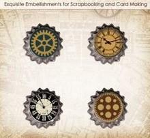 Embellishments / Verzierungen ScrapBerry's Set Of Metal Cork Car Vintage