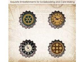 Embellishments / Verzierungen ScrapBerry s Set Of Metal Cork Car Vintage