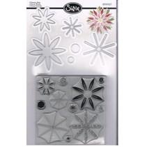 Stanz- und Prägeschablone, Sizzix Stanzer Framelits mit Stempel Set Blumen Sterne 17tlg Set