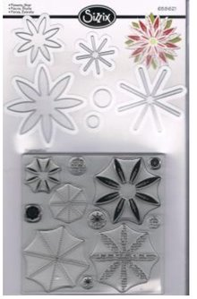 Sizzix Stamping and Embossing stencil, Sizzix punch Framelits with stamp set flowers star 17tlg Set