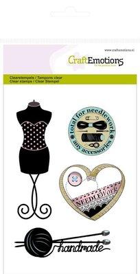 Crealies und CraftEmotions Timbri trasparenti, moda, cucito