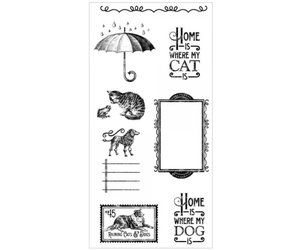 Graphic 45 Rubber Stempel Raining Cats Dogs