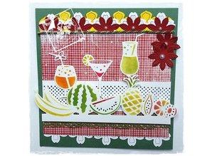 Joy!Crafts und JM Creation Stansning og prægning stencil grænse med frugt