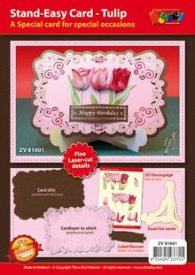 KARTEN und Zubehör / Cards Craft set for design of 1 noble, XL 3D tulips card