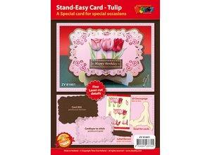 KARTEN und Zubehör / Cards Bastelset für Gestaltung von 1 edele, XL 3D Tulpen Karte