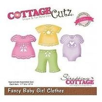 Perforación y la plantilla de estampado CottageCutz: ropa de la muchacha del bebé