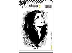 Stempel / Stamp: Transparent Gummistempel, la femme aux oiseaux
