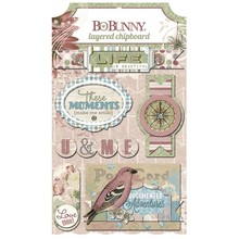 Bo Bunny 3D stickers, Spånplade Garden Journal sorteret,
