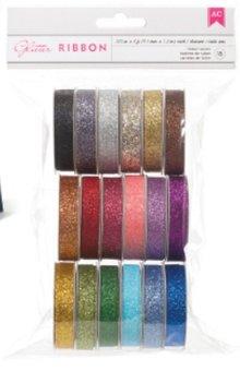 DEKOBAND / RIBBONS / RUBANS ... Un insieme di 18 nastri decorativi Glitter !!