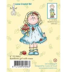 Leane Creatief - Lea'bilities Timbri trasparenti, Bambini ragazza con le rose