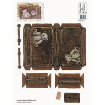 2 Decoupage ark A4, nostalgi kuffert i mørke og lys brun