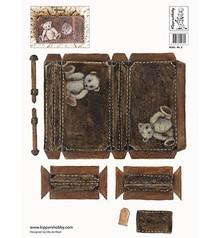 DECOUPAGE AND ACCESSOIRES Foglio 2 Decoupage A4, nostalgia valigia in marrone chiaro e scuro