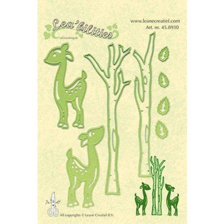 Leane Creatief - Lea'bilities Perforación y relieve plantilla Lea'bilitie, renos y árboles