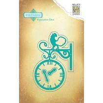 Perforación y la plantilla de estampado Vintasia, un reloj de época