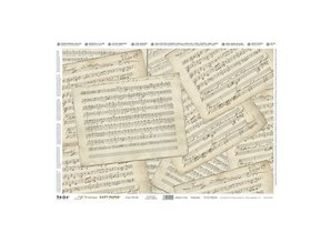 DECOUPAGE AND ACCESSOIRES Precious Soft Papir 35x50cm - Musik Sheets