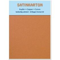 10 ark, karton Metallic Set A4, metallisk satineret overflade på begge sider, 250gr. / Kvadratmeter, kobber