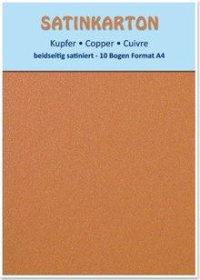 DESIGNER BLÖCKE  / DESIGNER PAPER 10 Bögen, Metallic Karton Set A4, Metallic beidseitig satiniert, 250gr. / qm, kupfer