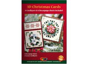 KARTEN und Zubehör / Cards A5 Bastelbuch per 6 carte di Natale 3D + 6 Layout di carte