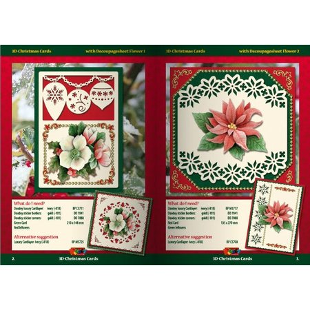 KARTEN und Zubehör / Cards A5 Bastelbuch für 6 3D Weihnachtskarten + 6 Karten Layouts