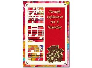 KARTEN und Zubehör / Cards A set of 3 Luxury card layer A6, with music notes