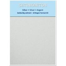 10 ark, karton A4, dobbeltsidet satin, 250gr På. / Kvadratmeter, sølv