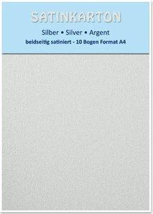 DESIGNER BLÖCKE  / DESIGNER PAPER 10 ark, karton A4, dobbeltsidet satin, 250gr På. / Kvadratmeter, sølv