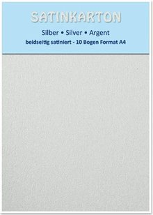 DESIGNER BLÖCKE  / DESIGNER PAPER 10 sheets, card stock A4, double-sided satin, 250gr. / Square meter, silver