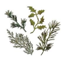 Stempelen en embossing stencil, Sizzix thinlits, set van 4 takken met bladeren