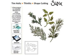 Sizzix Stamping and embossing stencil, Sizzix thinlits, Set of 4 branches with leaves
