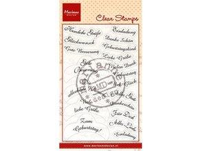 Marianne Design Transparent Stempel Tekst: 14 Wishes på tysk