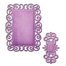 Spellbinders, punching and embossing template, D-Lites, decorative frame