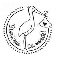 Stempel / Stamp: Holz / Wood Holzstempel, französische Text, Thema: Baby