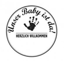 Stempel / Stamp: Holz / Wood Holzstempel, texto alemán, tema: Bebé